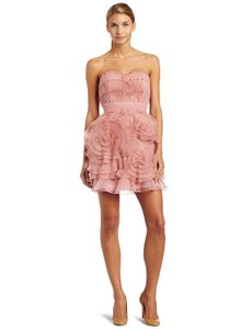 BCBGMAXAZRIA Silk Pleated Party Strapless Dress