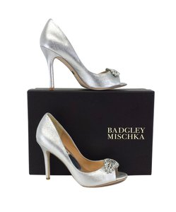 Badgley Mischka Silver Metallic Suede Peep Toe Pumps
