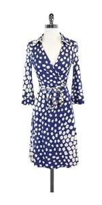 Diane von Furstenberg short dress Blue/White Silk Wrap on Tradesy