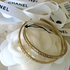 Chanel Chanel Classic CC Gold Crystal XL Hoop Earrings
