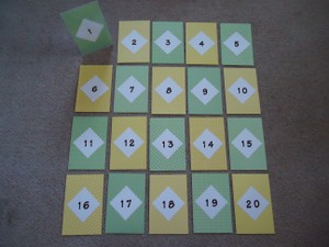 1 - 20 Green & Yellow Table Numbers ~ Clear Frames Included!