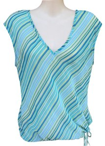 New York & Company Top Blue & Yellow