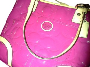 Coach Patent Leather Monogram Tote in pink