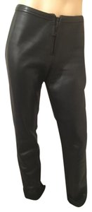 3.1 Phillip Lim Leather Ful Grain Leather Leather Zipper Straight Pants black