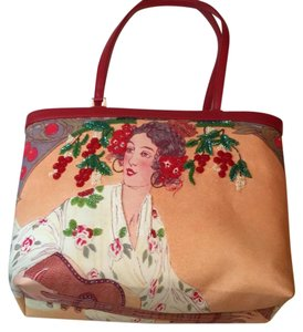 Isabella Fiore Tote in Peach With Red Trim