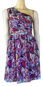 Gianni Bini short dress Multi-colored Lace Floral One Shoulder Colorful on Tradesy
