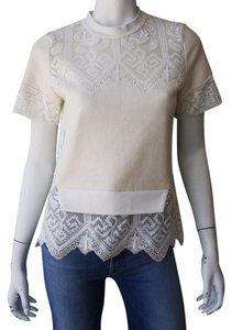 Sea New York Embroidered Lace Knit Top Ivory