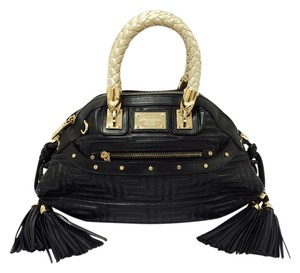 Versace Couture Leather Greca Quilted Braided Handle Satchel in Black