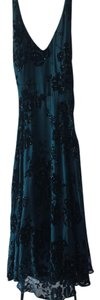 Muse Silk Beaded Applique Tea Length Halter Dress