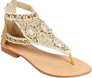 Cocobelle Leather Beaded Tan Sandals