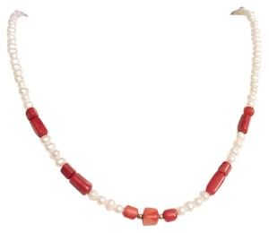 Anthropologie Genuine Pearl And Polished Red Coral Sterling Silver Necklace Strand