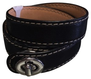 Coach Coach Black Leather Wrap Bracelet
