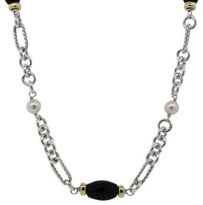 David Yurman David Yurman Two Tone Black Onyx Pearl Long Figaro Necklace