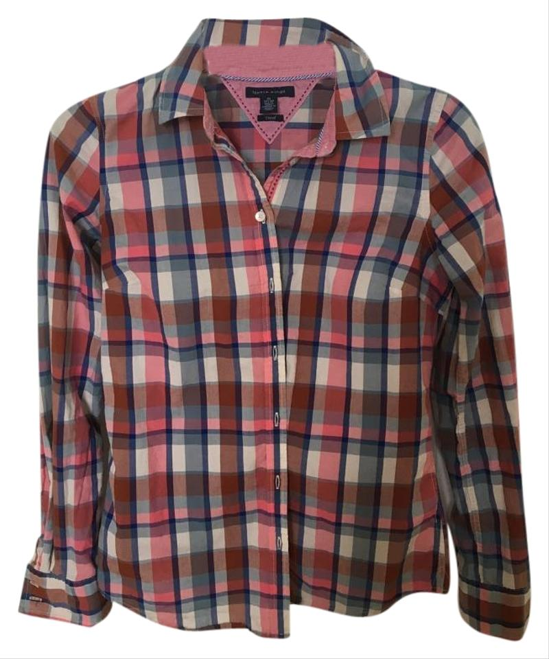 26f61a49 Tommy Hilfiger Pink Plaid Button-down Top Size 2 (XS) - Tradesy