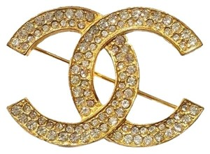 Chanel Authentic Vintage Chanel Gold Plated CC Rhinestone Brooch
