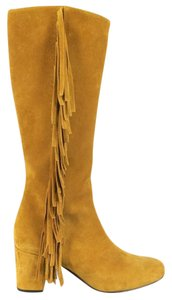 Saint Laurent Fringe Chunky Suede Knee High Tan Boots