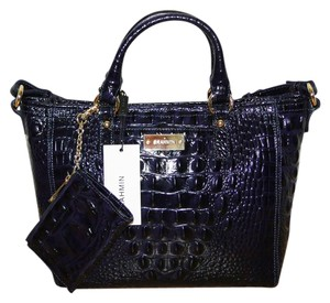 Brahmin Mini Arno Key Ring Satchel in Ink Blue