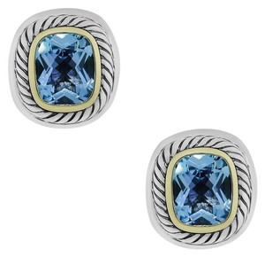 David Yurman David Yurman Two Tone Blue Topaz Earrings