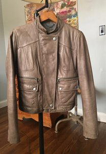Banana Republic Gray/Brown Leather Jacket
