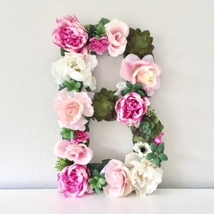 Custom Large Floral Letters Wedding Monogram Initials Flower Letter Large Wooden Monogram Table -