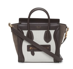 Céline Celine Nano Tri Color Block Tote in Brown