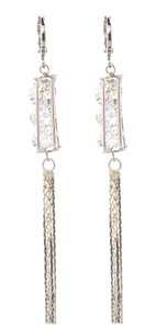 Rhodium Silver Caged CZ Diamond Cut Dangle Earrings