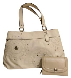 Coach Leather Satchel in offf white/ beige