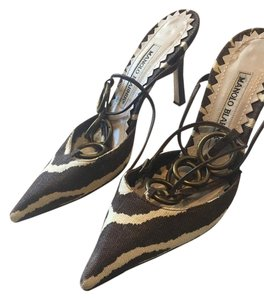 Manolo Blahnik Brown and Beige Pumps