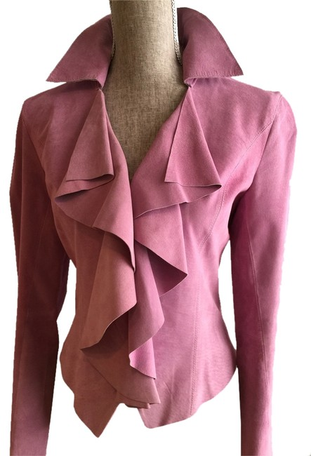 Ideology Ruffled Lavender Suede Suit Jacket (Size Small)