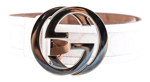 Gucci Gucci White Leather and PVC Belt with Winterlocking G Buckle