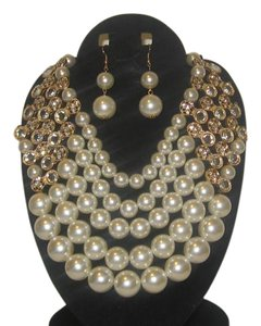 PEARLS RHINESTONE 5 STRING CREAM NECKLACE SET