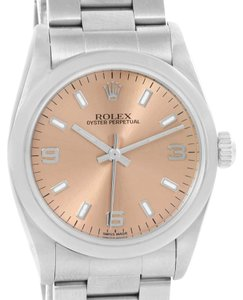 Rolex Rolex Midsize Oyster Perpetual Salmon Dial Steel Watch 77080