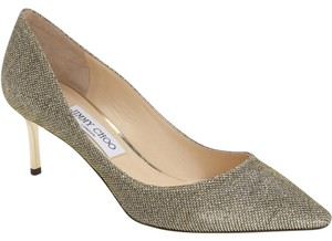 Jimmy Choo Romy Pointy Toe Wedding Light Bronze Glitter Pumps