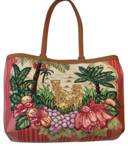 Isabella Fiore Tote in Pink, Green, And Biege