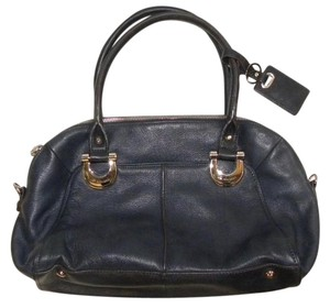 B. Makowsky B Leather Top Handle Tote in Dark Blue