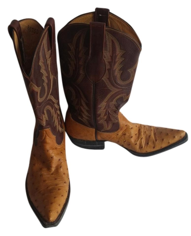 Rios Of Mercedes Tan Ostrich And Brown Boots Booties Size Us 7 5 Regular M B 69 Off Retail
