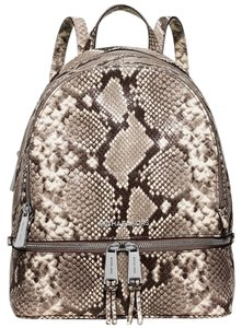 6588bbe0a080 Michael Kors Rhea Medium Embossed Natural Snake Leather Backpack ...