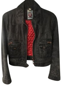 Deisel Distressed black Leather Jacket