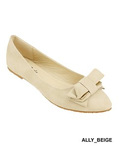 Red Circle Footwear Bow Slipon Flat Pointy Beige Flats