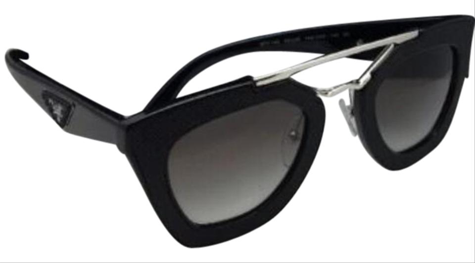 0686af13d91bc Prada New PRADA Sunglasses SPR 14S 1AB-0A7 Black Leather   Silver Frame  Image 0 ...