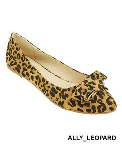 Red Circle Footwear Bow Slipon Pointy Leopard Flats