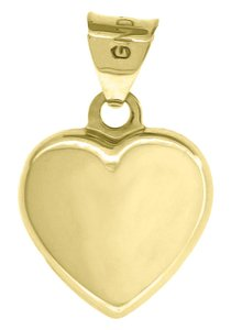 10K Yellow Gold Plain Flat Heart Pendant 0.60