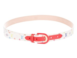 Louis Vuitton White Multicolore LV Monogram Louis Vuitton waist belt XS