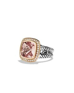 David Yurman Albion Ring with Morganite, Diamonds and 18k Rose Gold