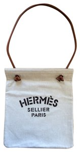 Hermès Linen Rolled Leather Strap Dust Herringbone Pattern Shoulder Bag
