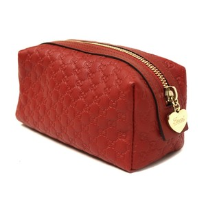 Gucci GUCCI Red Leather Cosmetic Case