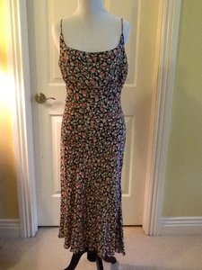 Black pink green floral Maxi Dress by Rouge 100% Rayon Made In India