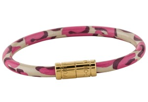 Louis Vuitton Gold-tone Louis Vuitton multicolor monogram leather Keep It bracelet