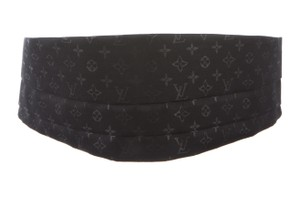Louis Vuitton Men's black satin Louis Vuitton LV monogram cummerbund