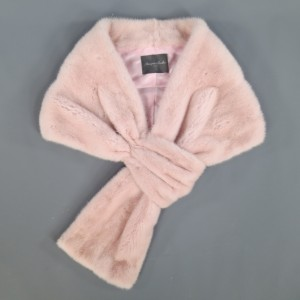 Monique Lhuillier Dusty Rose Pink Mink Fur Wrap Stole